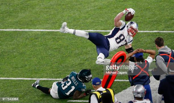 Rob Gronkowski of the New England Patriots makes a reception for a 16yard gain during the game against the Philadelphia Eagles in Super Bowl LII at...