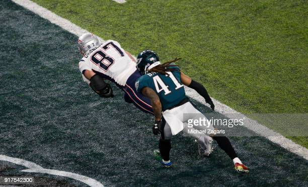 Rob Gronkowski of the New England Patriots makes a reception in the end zone for a fiveyard touchdown during the game against the Philadelphia Eagles...