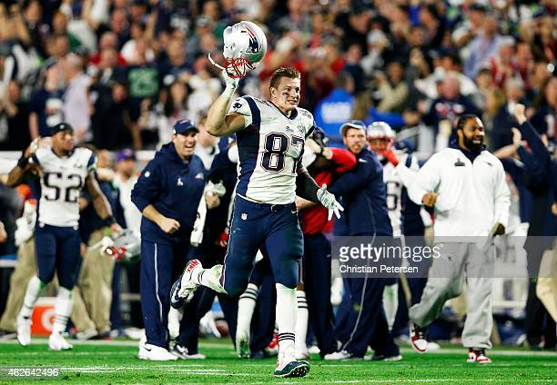Rob Gronkowski of the New England Patriots reacts after an interception against the Seattle Seahawks during Super Bowl XLIX at University of Phoenix...