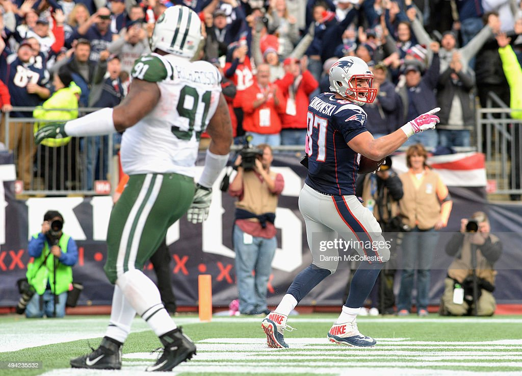 Rob Gronkowski #87 of the New England Patriots reacts after scoring a touchdown during the fourth quarter against the New York Jets at Gillette Stadium on October 25, 2015 in Foxboro, Massachusetts.