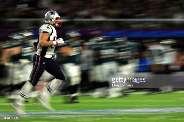 Rob Gronkowski of the New England Patriots runs on the field during the second quarter against the Philadelphia Eagles in Super Bowl LII at US Bank...