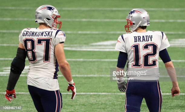 Rob Gronkowski of the New England Patriots talks with Tom Brady in the second half during Super Bowl LIII at MercedesBenz Stadium on February 3 2019...