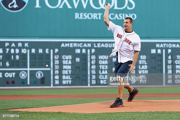 Rob Gronkowski of the New England Patriots throws out the first pitch before the game between the Boston Red Sox and the San Francisco Giants at...