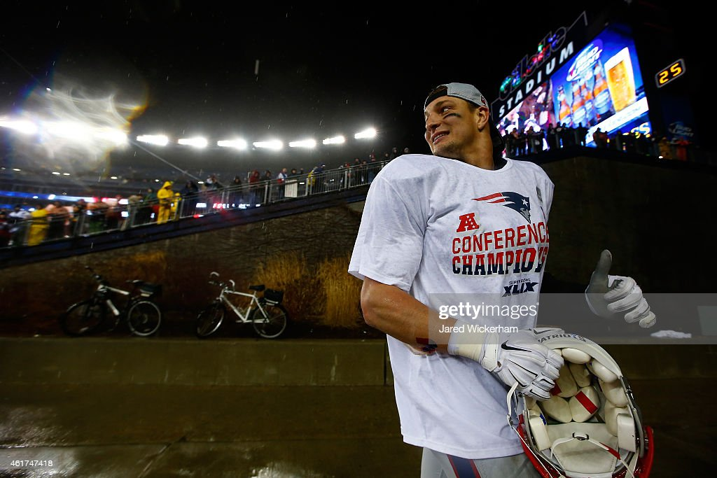 Rob Gronkowski #87 of the New England Patriots walks off the field after defeating the Indianapolis Colts in the 2015 AFC Championship Game at Gillette Stadium on January 18, 2015 in Foxboro, Massachusetts. The Patriots defeated the Colts 45-7.