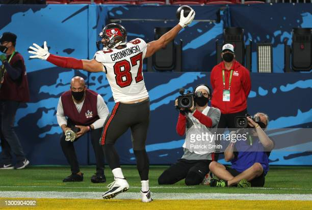 Rob Gronkowski of the Tampa Bay Buccaneers celebrates after an 8 yard touchdown catch in the first quartera Kansas City Chiefs in Super Bowl LV at...