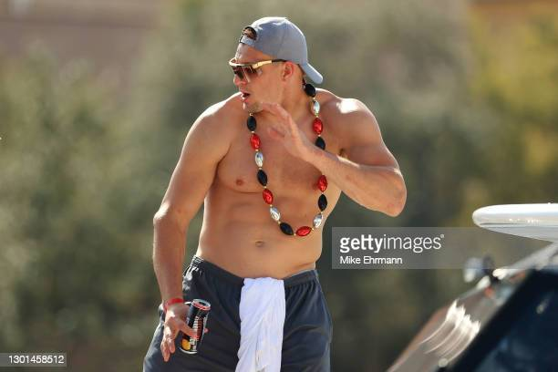 Rob Gronkowski of the Tampa Bay Buccaneers celebrates during the Tampa Bay Buccaneers Super Bowl boat parade on February 10, 2021 after defeating the...