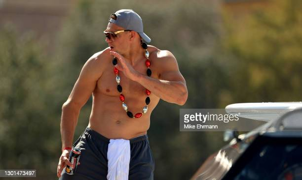 Rob Gronkowski of the Tampa Bay Buccaneers celebrates their Super Bowl LV victory during a boat parade through the city on February 10, 2021 in...