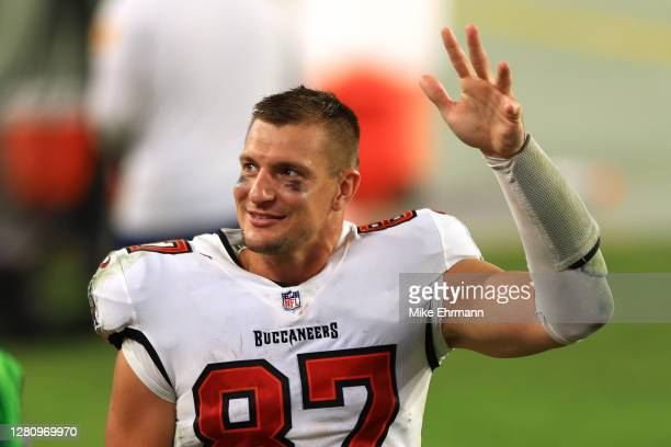Rob Gronkowski of the Tampa Bay Buccaneers leaves the field after a 38-10 win against the Green Bay Packers at Raymond James Stadium on October 18,...