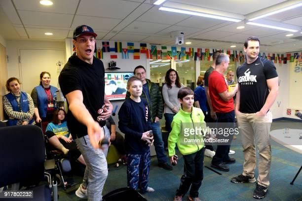 Rob Gronkowski plays Olympic beanbag toss at Boston Children's Hospital on February 13 2018 in Boston Massachusetts