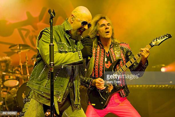 Rob Halford and Glenn Tipton of Judas Priest perform in concert at the PNC Pavilion on July 21 2009 in Cincinnati