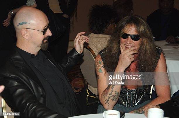 Rob Halford and Sebastian Bach during 2006 TCA MTV Networks Green Room at Ritz Carlton Hotel Pavilion Room in Pasadena California United States
