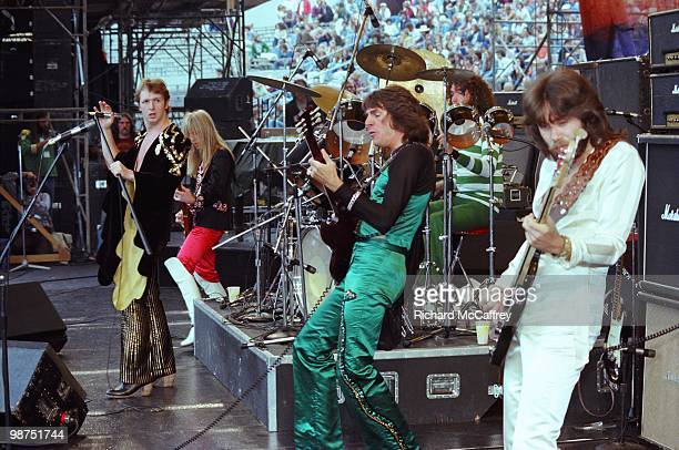 Rob Halford KK Downing Glenn Tipton Les Binks and Ian Hill of Judas Priest perform live at The Oakland Coliseum in 1977 in Oakland California