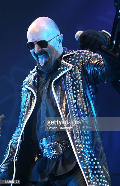 Rob Halford of Judas Priest during Judas Priest in Concert March 28 2005 at Sheffield Arena in Sheffield Great Britain