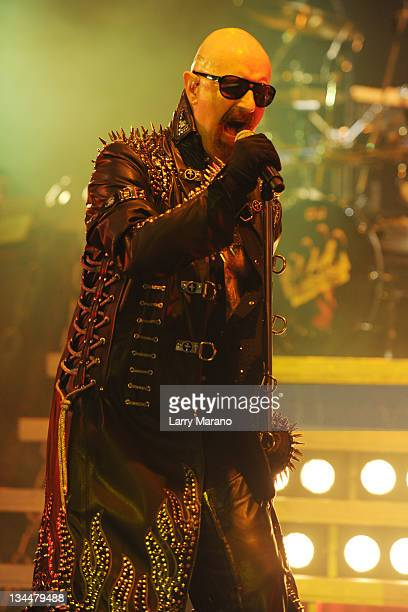 Rob Halford of Judas Priest performs at Bayfront Park Amphitheater on December 1 2011 in Miami Florida
