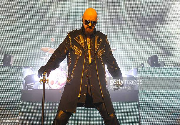 Rob Halford of Judas Priest performs at The Warfield Theater on October 20 2015 in San Francisco California