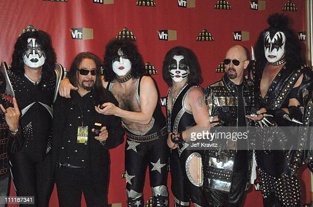 Rob Halford of Judas Priest with Gene Simmons Ace Frehley Paul Stanley Eric Singer and Tommy Thayer of KISS