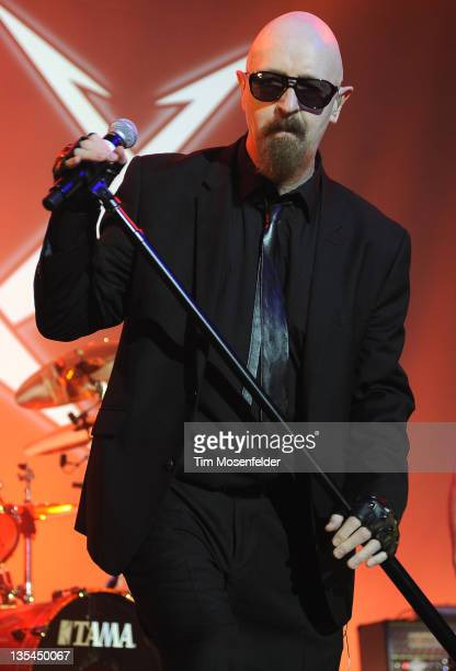 Rob Halford performs with Metallica during day three of the band's 30th Anniversary shows at The Fillmore on December 9 2011 in San Francisco...