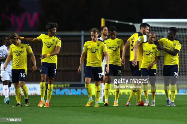 Rob Hall of Oxford United celebrates after scoring his team's first goal during the Carabao Cup Second Round match between Oxford United and Watford...