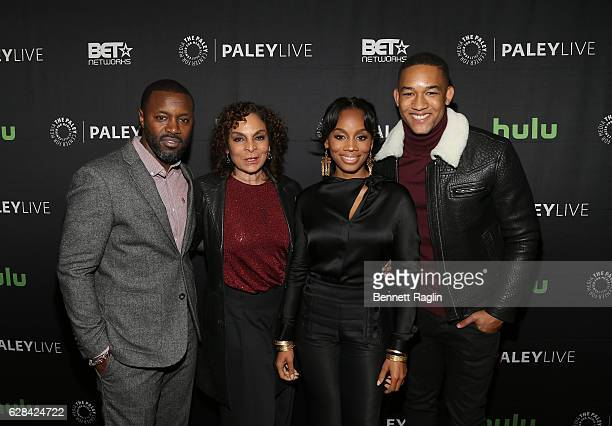 Rob Hardy Jasmine Guy Anika Noni Rose and Peyton Alex Smith attend BET Presents An Evening With 'The Quad' At The Paley Center on December 7 2016 in...