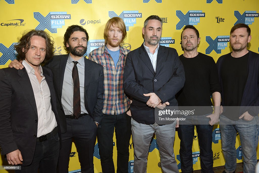 Rob Hardy, Oscar Isaac, Domhnall Gleeson, Alex Garland, Ben Salisbury, and Geoff Barrow attend the SXSW 'Ex Machina' Premiere at the Paramount Theatre on March 15, 2015 in Austin, Texas.