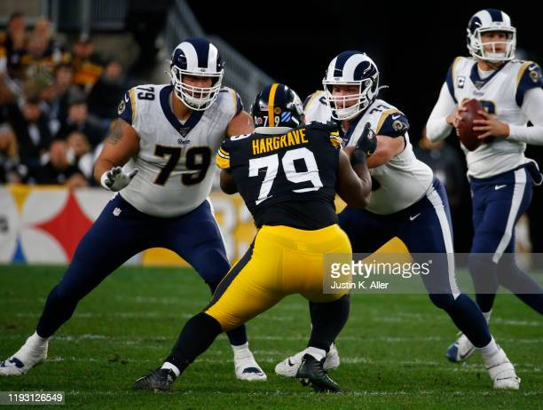 Rob Havenstein and Rams David Edwards of the Los Angeles Rams in action against the Pittsburgh Steelers on November 10, 2019 at Heinz Field in...