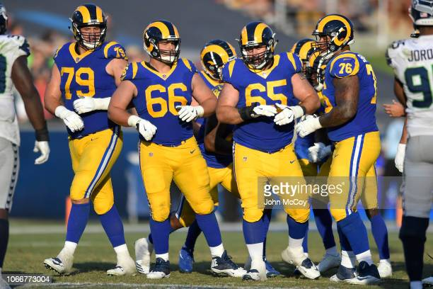Rob Havenstein Austin Blythe John Sullivan and Rodger Saffold of the Los Angeles Rams get ready on the line against Seattle Seahawks at Los Angeles...