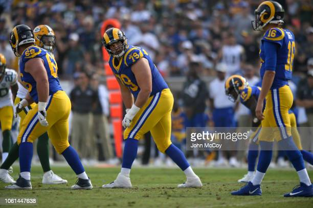Rob Havenstein of the Los Angeles Rams at Los Angeles Memorial Coliseum on October 28, 2018 in Los Angeles, California.