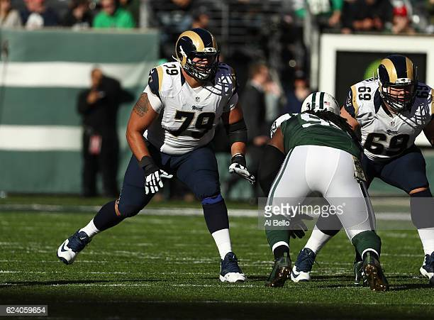 Rob Havenstein of the Los Angeles Rams in action against Steve McLendon of the New York Jets at MetLife Stadium on November 13, 2016 in East...