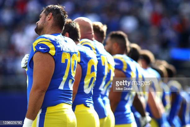 Rob Havenstein of the Los Angeles Rams looks on during the National Anthem against the New York Giants at MetLife Stadium on October 17, 2021 in East...