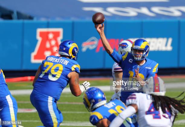 Rob Havenstein of the Los Angeles Rams looks to make a block as Jared Goff throws a pass during the second half against the Buffalo Bills at Bills...