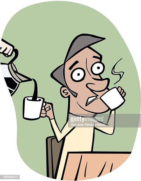 Rob Hernandez color illustration of wideeyed man drinking cup after cup of coffee