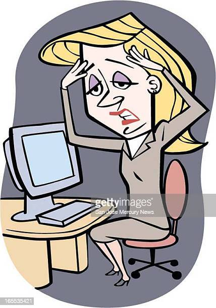 Rob Hernandez color illustration of woman holding her head in pain at desktop computer