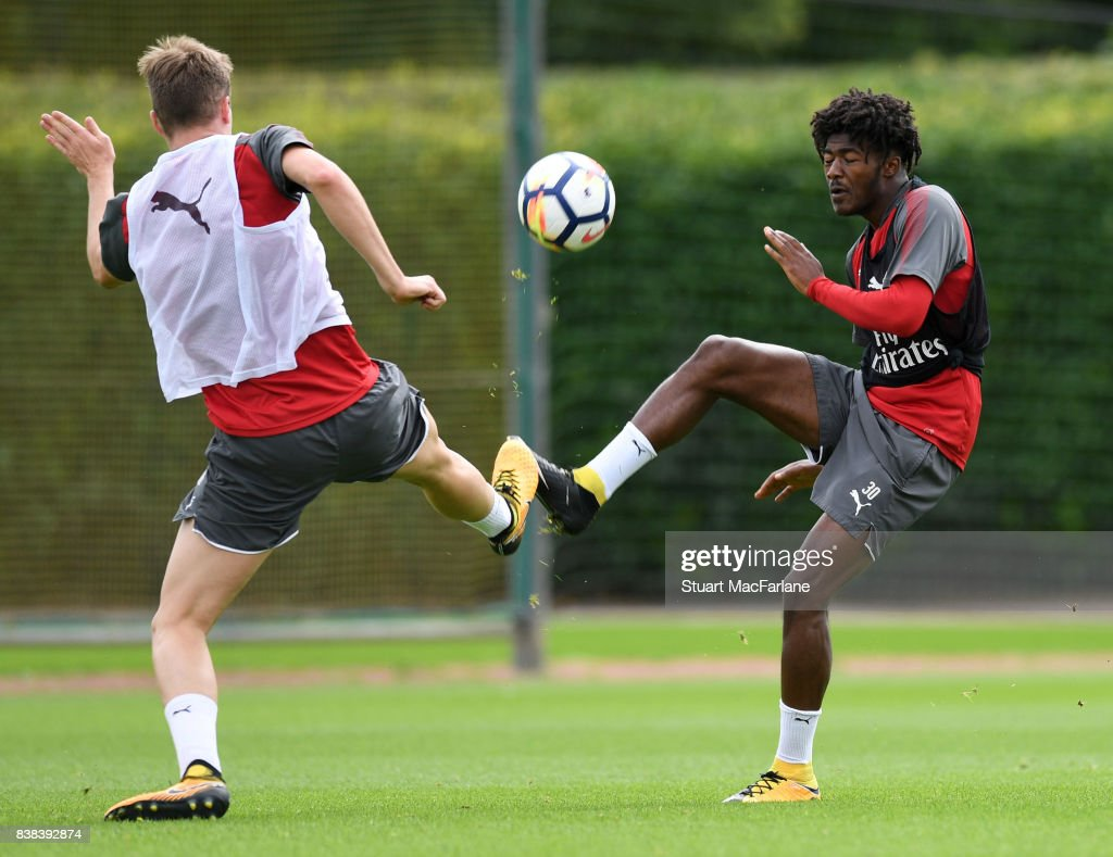 Rob Holding and Ainsley Maitland-Niles of Arsenal during a training session at London Colney on August 24, 2017 in St Albans, England.