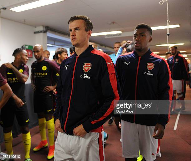 Rob Holding and Alex Iwobi of Arsenal in the tunnel before the match between Arsenal and Manchester City at Ullevi on August 7 2016 in Gothenburg...