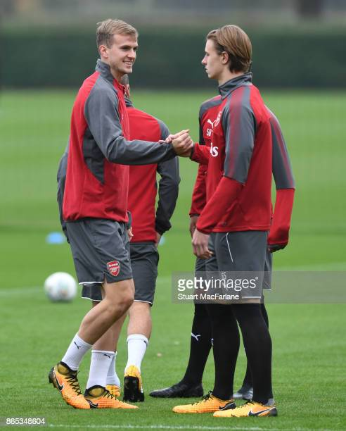Rob Holding and Ben Sheaf of Arsenal during a training session at London Colney on October 23 2017 in St Albans England