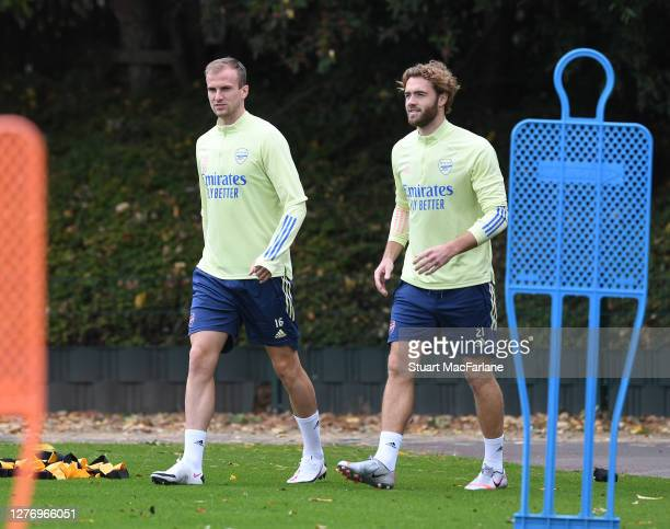 Rob Holding and Calum Chambers of Arsenal before a training session at London Colney on September 27 2020 in St Albans England