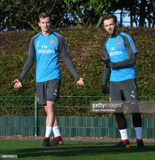 Rob Holding and Calum Chambers of Arsenal during a training session at London Colney on December 9 2017 in St Albans England