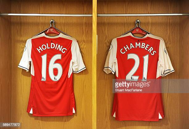 Rob Holding and Calum Chambers shirts in the Arsenal changing room before the Premier League match between Arsenal and Liverpool at Emirates Stadium...