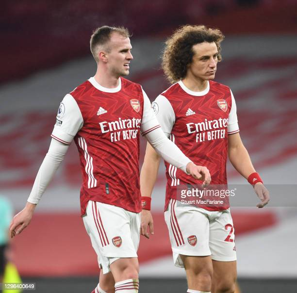 Rob Holding and David Luiz of Arsenal during the Premier League match between Arsenal and Crystal Palace at Emirates Stadium on January 14, 2021 in...