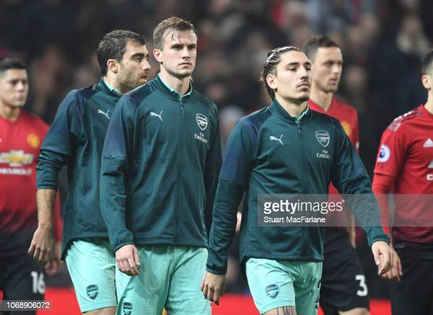 Rob Holding and Hector Bellerin of Arsenal before the Premier League match between Manchester United and Arsenal FC at Old Trafford on December 5...
