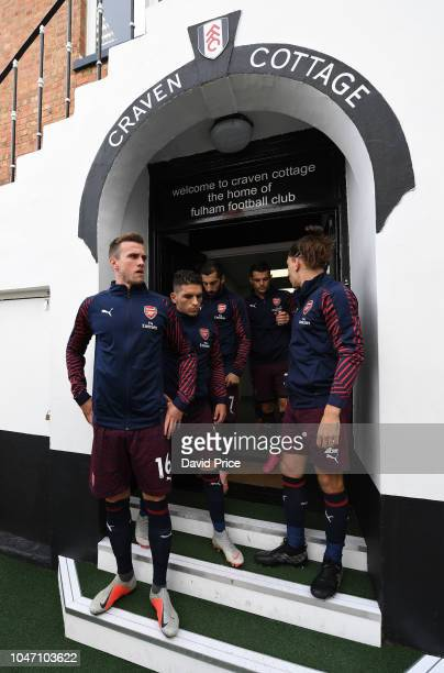Rob Holding and Lucas Torriera of Arsenal before the Premier League match between Fulham FC and Arsenal FC at Craven Cottage on October 7, 2018 in...