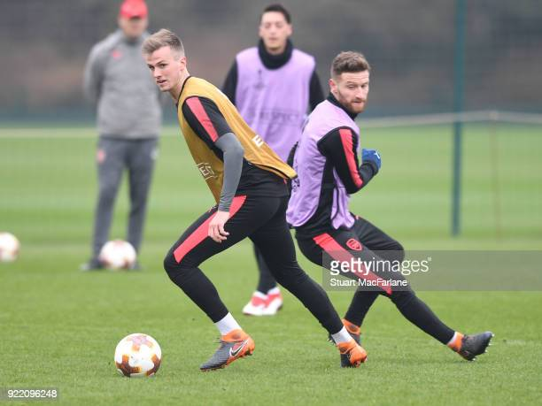 Rob Holding and Shkodran Mustafi of Arsenal during a training session at London Colney on February 21 2018 in St Albans England