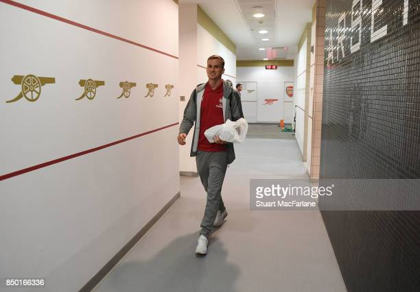 Rob Holding arrives in the Arsenal changing room before the Carabao Cup Third Round match between Arsenal and Doncaster Rovers at Emirates Stadium on...