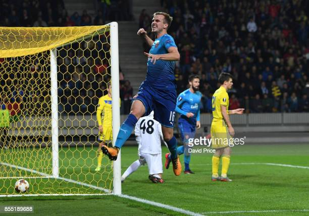 Rob Holding celebrates scoring Arsenal's 3rd goal during the UEFA Europa League group H match between BATE Borisov and Arsenal FC at BorisovArena on...