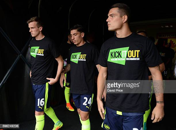 Rob Holding Hector Bellerin and Granit Xhaka of Arsenal before the Premier League match between Watford and Arsenal at Vicarage Road on August 27...
