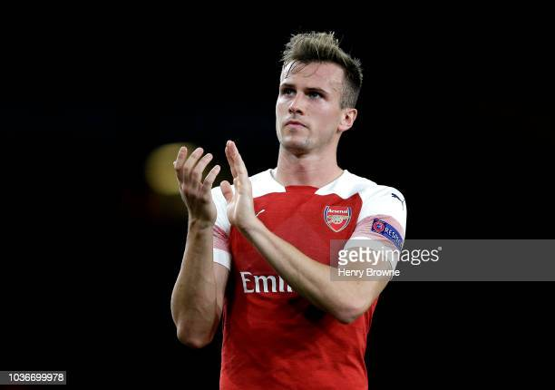 Rob Holding of Arsenal acknowledges the fans after the UEFA Europa League Group E match between Arsenal and Vorskla Poltava at Emirates Stadium on...