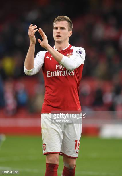 Rob Holding of Arsenal applauds the fans after the Premier League match between Arsenal and Watford at Emirates Stadium on March 11 2018 in London...