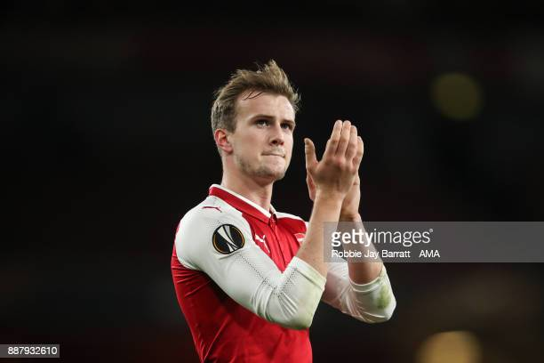 Rob Holding of Arsenal applauds the fans during the UEFA Europa League group H match between Arsenal FC and BATE Borisov at Emirates Stadium on...