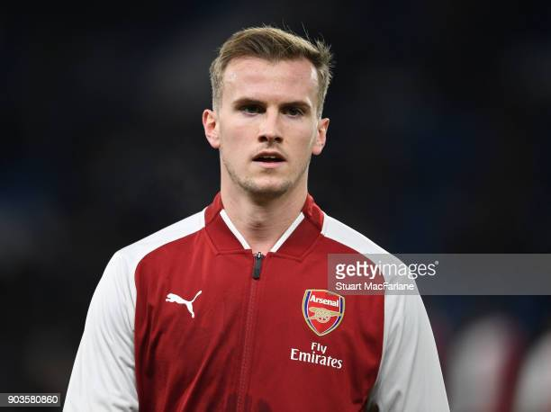 Rob Holding of Arsenal before the Carabao Cup SemiFinal First Leg match between Chelsea and Arsenal at Stamford Bridge on January 10 2018 in London...