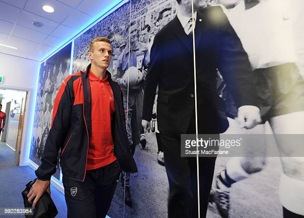 Rob Holding of Arsenal before the Premier League match between Leicester City and Arsenal at The King Power Stadium on August 20 2016 in Leicester...